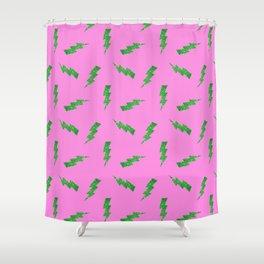 Green Glitter Lightning Bolts in Pink Shower Curtain