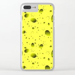 Large yellow drops and petals on a light background in nacre. Clear iPhone Case