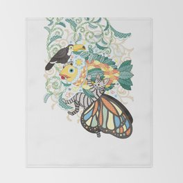 Plant fish and Butterfly cat and Toco toucan (remake) Throw Blanket