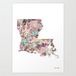 Louisiana map portrait Art Print