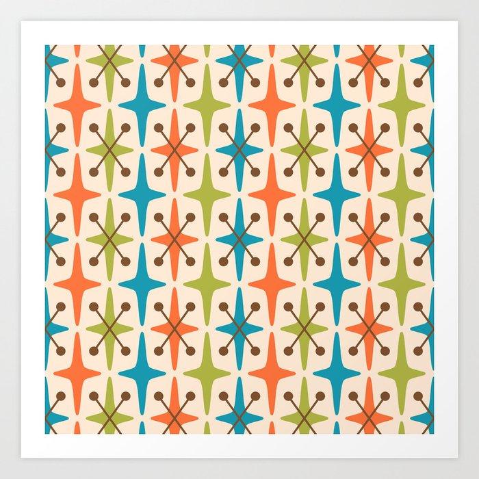 Mid Century Modern Abstract Star Pattern 441 Orange Brown Turquoise Chartreuse Kunstdrucke