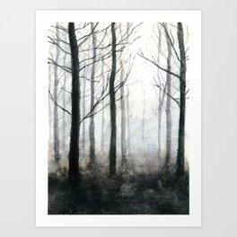 fog among the trees Art Print