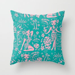 Tiki Temptress in Pink and Turquoise Throw Pillow