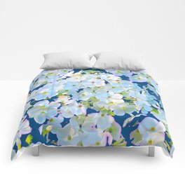 DELICATE TEAL & WHITE LACE FLORAL GARDEN Comforters