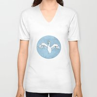 swan queen V-neck T-shirts featuring Swan Queen by dalliance-amongst-the-stars