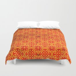 N67 - Yellow & Red Vintage Antique Geometric Traditional Moroccan Style. Duvet Cover