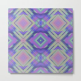 Purple and Green Woven Squares Metal Print