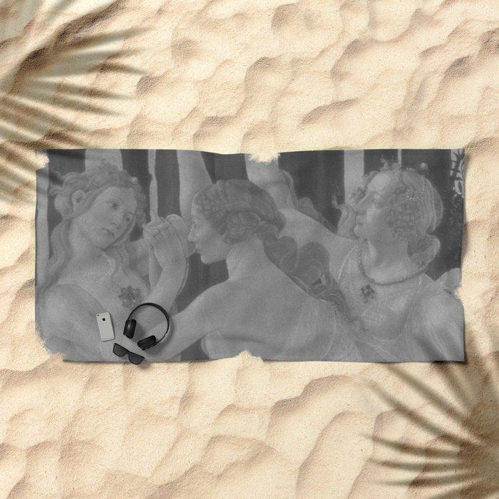 Black White Primavera Beach Towel
