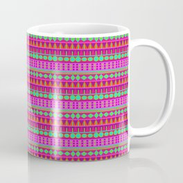 Aztec Tribal Motif Pattern in Pink, Lime and Fuchsia Coffee Mug