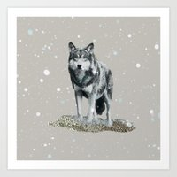 dota Art Prints featuring SNOW WOLF by Monika Strigel