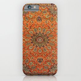 Central Persia Qum Old Century Authentic Colorful Orange Yellow Green Vintage Patterns iPhone Case