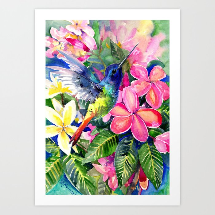 Hummingbird and Plumeria Florwers Tropical bright colored foliage floral Hawaiian Flowers Art Print