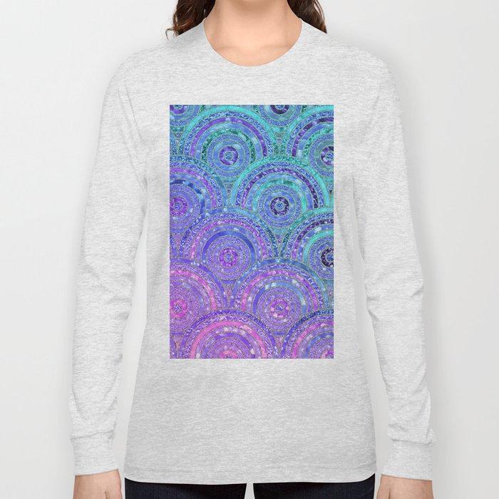 Aqua Blue Purple and Pink Sparkling Glitter Circles Long Sleeve T-shirt