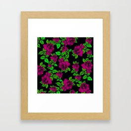 ROSES ROSES PINK AND GREEN Framed Art Print