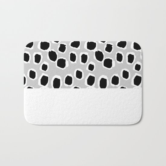 Tess - black and white grey minimal modern abstract dots painting brushstrokes free spirit ink  Bath Mat