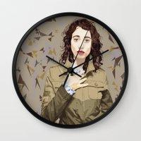 regina mills Wall Clocks featuring Regina Spektor by Iany Trisuzzi