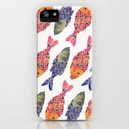 Indonesian Fish Duo – Navy & Coral Palette iPhone Case