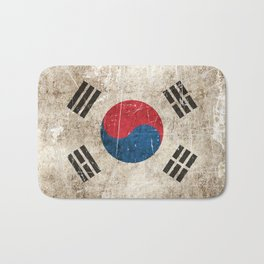 Vintage Aged and Scratched South Korean Flag Bath Mat