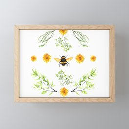 Bees in the Garden v.3 - Watercolor Graphic Framed Mini Art Print