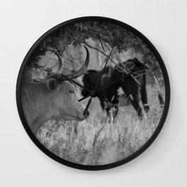 Oklahoma's Wild Longhorn // Black and White Wall Clock