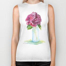 Rose in a Glass Vase Watercolor Biker Tank