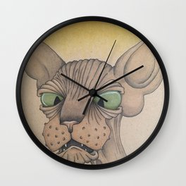 Cross-Eyed Sphynx Wall Clock