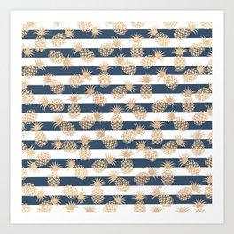 Nautical modern navy blue white stripes blush beige pineapple Art Print