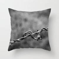 the wire Throw Pillows featuring wire by blas.phgrafik