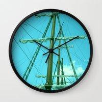 sailboat Wall Clocks featuring sailboat by Vickn