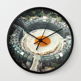 Take the 2nd Eggxit - Sunny side up fried egg Wall Clock