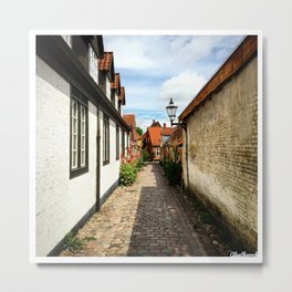 Narrow streets of Ribe Metal Print