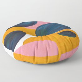 Mid Century Modern Abstract Minimalist Retro Vintage Style Pink Navy Blue Yellow Rollie Pollie Ollie Floor Pillow