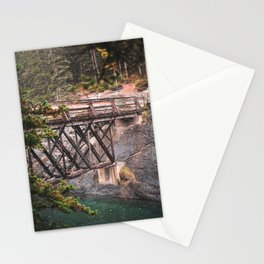 349. Small wooden bridge under snow, Banff, Canada Stationery Cards