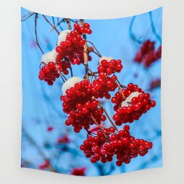 Snowy red berries Wall Tapestry