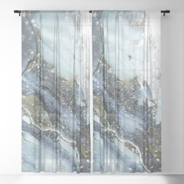 Gray Glamour Marble Sheer Curtain