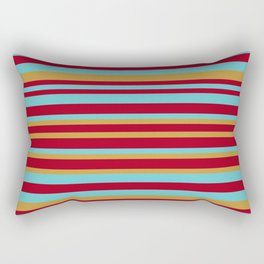 Golden, Red Wine and Turquoise Vintage Stripes Rectangular Pillow