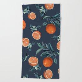 Lemon and Leaf Pattern VI Beach Towel