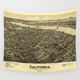 Aerial View of California, Pennsylvania by T.M. Fowler (1902) Wall Tapestry