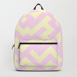 Cream Yellow and Pink Lace Diagonal Labyrinth Backpack