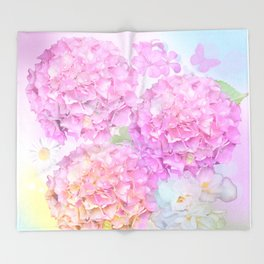 Pink Hortensias and other flowers Throw Blanket