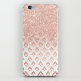 Faux rose gold glitter ombre rose gold foil triangles chevron geometric on white marble iPhone Skin