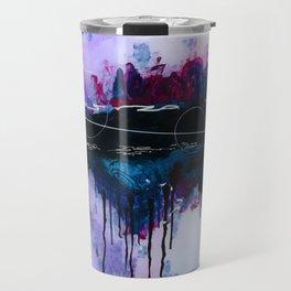 Dawn, pink and fushia black and blue acrylic abstract artwork Travel Mug