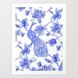 Chinoiserie Peacock Art Print