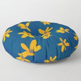 Flowers On Blue Pastel Floor Pillow