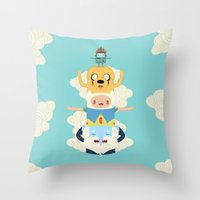 totem Throw Pillows featuring Adventure Totem by Daniel Mackey