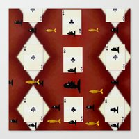 poker Canvas Prints featuring Poker Sharks by Pepita Selles