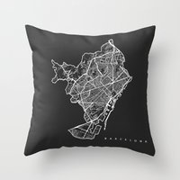 barcelona Throw Pillows featuring BARCELONA by Nicksman