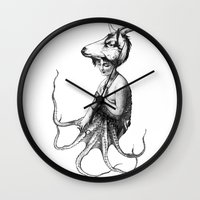 capricorn Wall Clocks featuring capricorn by Carolina Espinosa