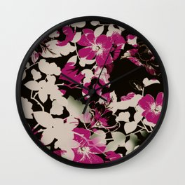 deep pink floral silhouette Wall Clock