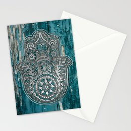Silver Hamsa Hand On Turquoise Wood Stationery Cards